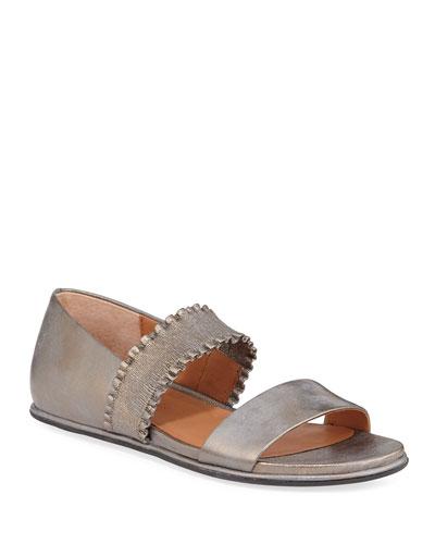 Lark Flat Metallic Leather Ruffle Sandals