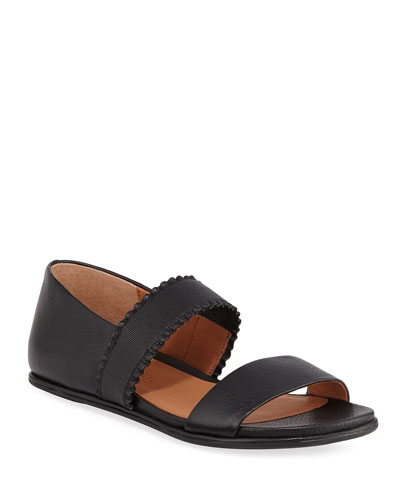 Lark Flat Leather Ruffle Sandals