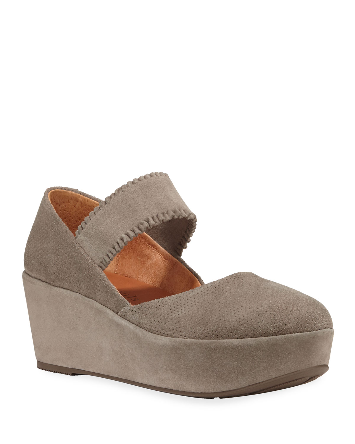 Nyssa Ruffle-Strap Suede Wedge Sandals