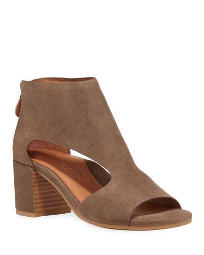 Charlene Cutout Leather Zip Sandals