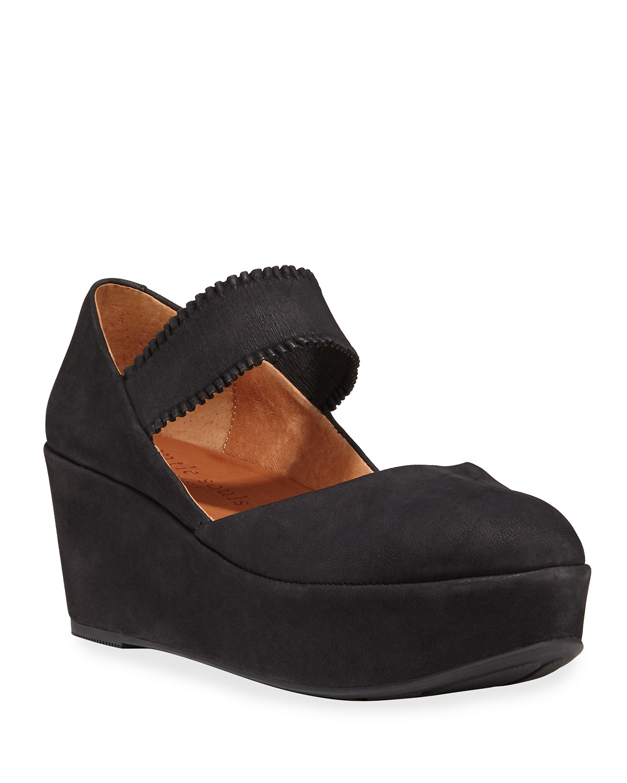 Nyssa Ruffle-Strap Nubuck Wedge Sandals