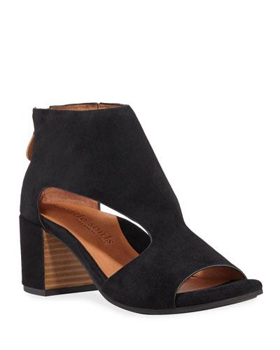 Charlene Cutout Suede Zip Sandals