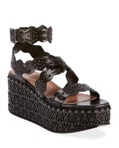 Laser-Cut Platform Sandals