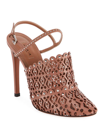 Laser-Cut Studded Pumps, Nude