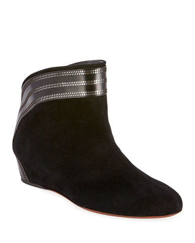 Perforated Suede Wedge Pull-On Booties