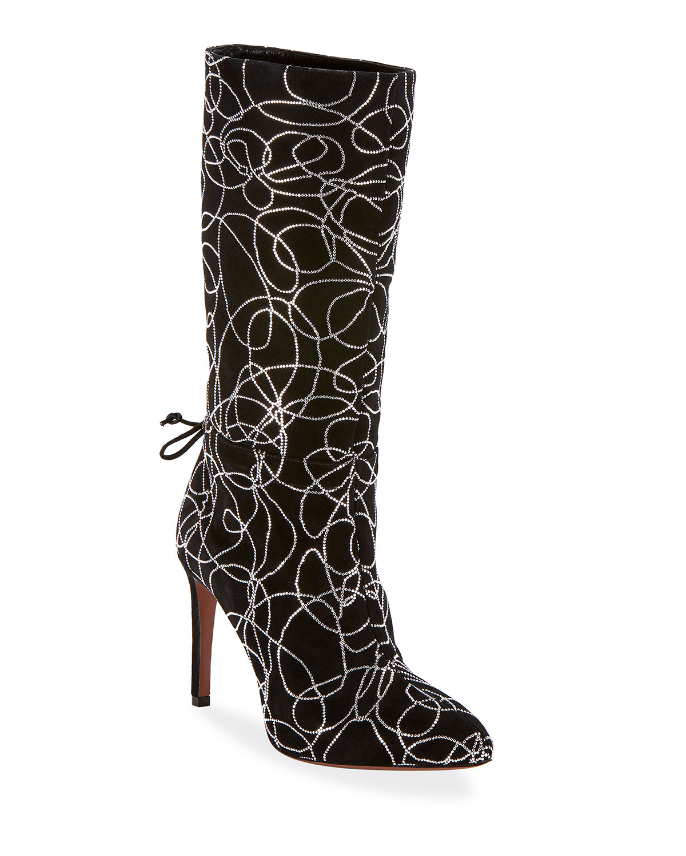 Suede Crystal Zip Mid-Calf Boots