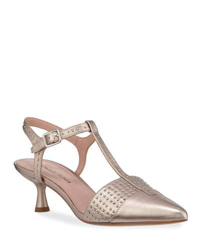 Botti Studded Metallic Leather T-Strap Pumps