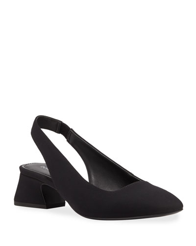 Breea Low-Heel Crepe Slingback Pumps