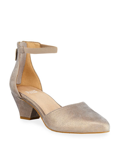 Just Low-Heel Metallic Pumps
