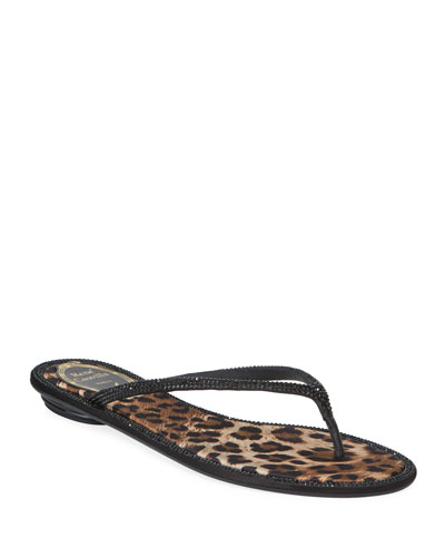 Flat Leopard-Lined Thong Sandals