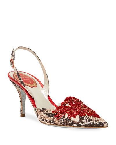 Beaded Snake-Print Slingback Pumps