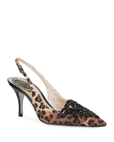Leopard-Print Embellished Pumps