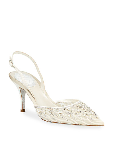 Mesh Strass Halter Pumps
