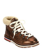 Moncler Blanche Glittered Leather Boots