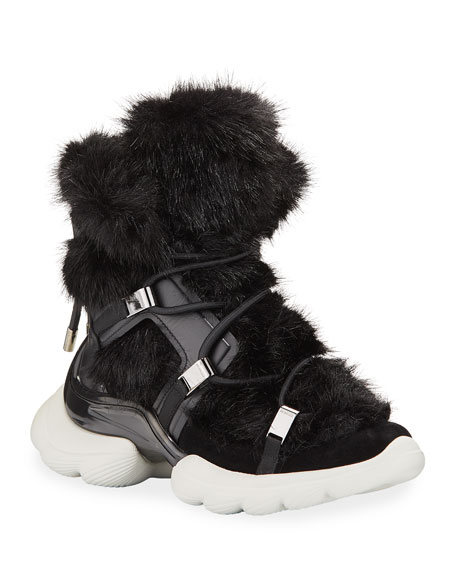 Moncler Tilda Leather Faux-Fur Lace-Up Boots