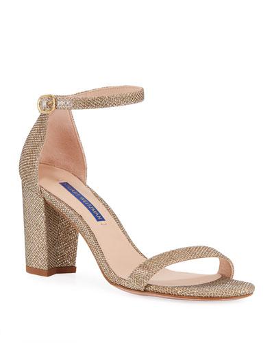 Nearlynude Glittered Block-Heel Sandals