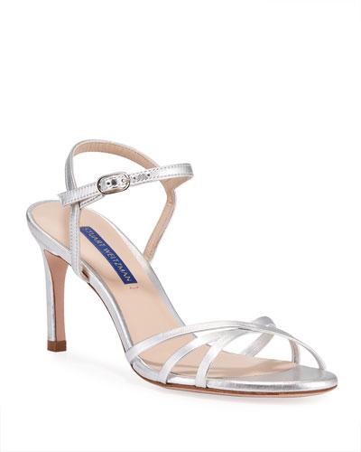 Starla Metallic Leather Mid-Heel Sandals