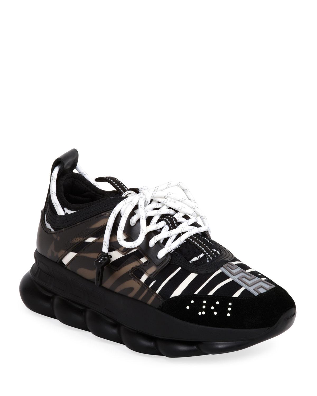 Zebra Chain-Reaction Sneakers