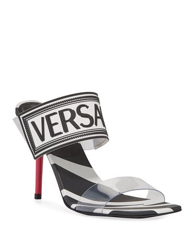 Logo Zebra-Print Slide Sandals
