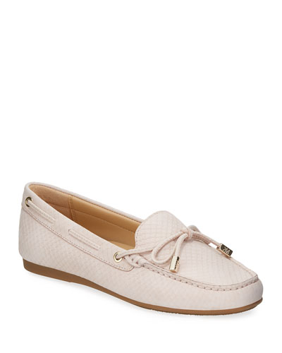 Sutton Snake-Embossed Bow Loafers