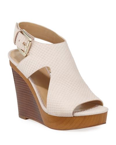 Josephine Snake-Embossed Wedge Sandals