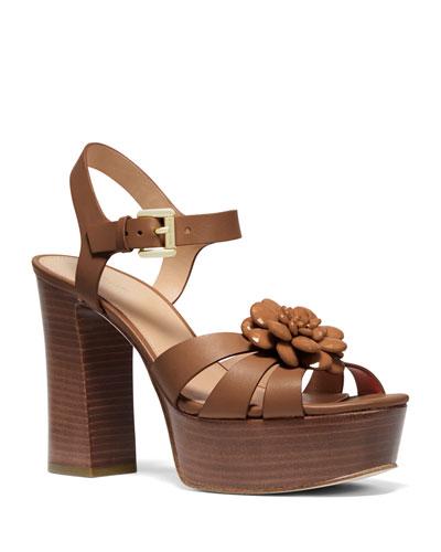 Dalia Leather Flower Platform Sandals