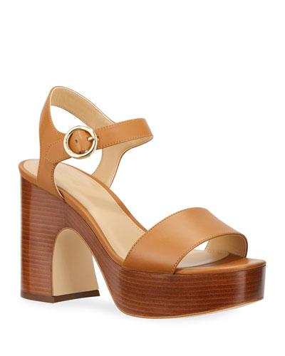 Fiona Leather Block-Heel Platform Sandals