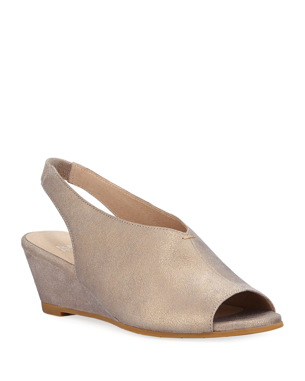 Clay Metallic Leather Slingback Wedge Sandals