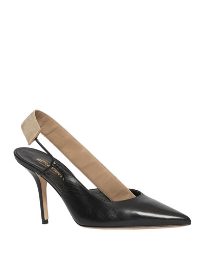 Maria Two-Tone Asymmetric Slingback Pumps