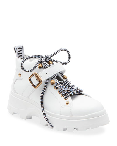 Low-Top Leather Lug Sole Hiker Booties