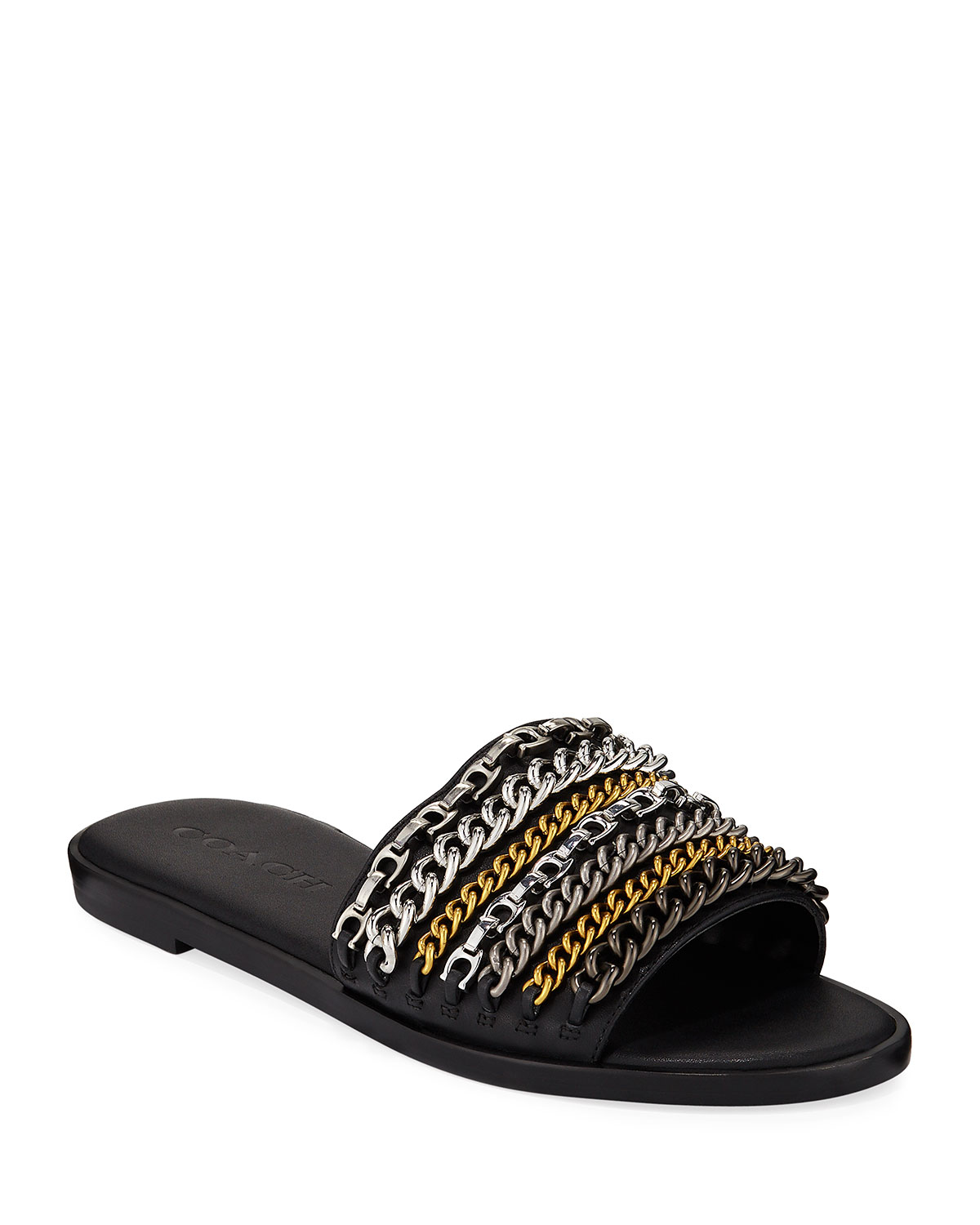 Hayden Leather Chains Flat Slide Sandals