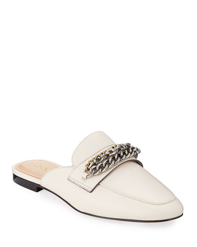 Faye Leather Chain Loafer Mules
