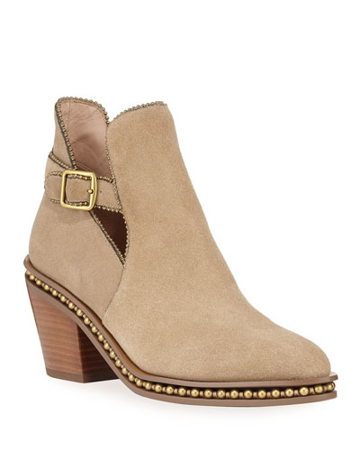 Pipa Suede Bead-Chain Western Booties