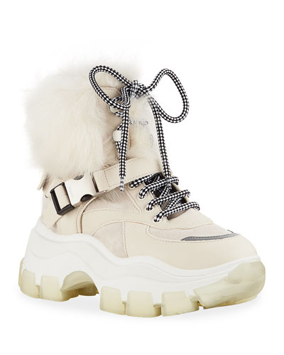 Shearling-Lined Leather Lug-Sole Booties