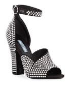 Prada Crystal Satin Ankle-Strap Sandals