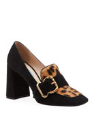 Prada Mocassin Suede and Leopard Pumps