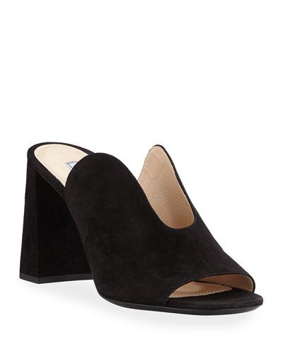 Dip-Front Suede Block-Heel Mules