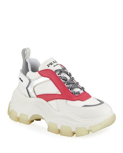 Leather Flatform Lug-Sole Trainer Sneakers