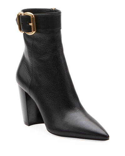Leather Booties with Buckle Detail