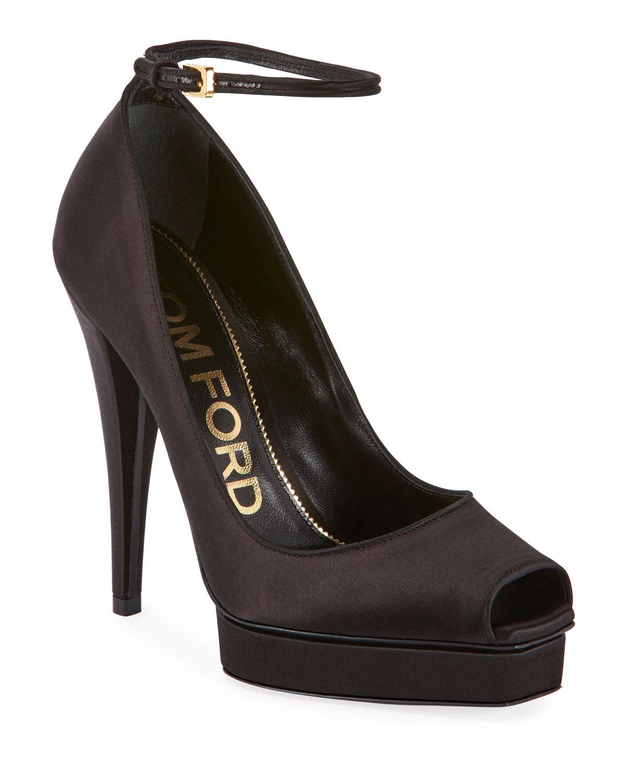 Peep-Toe Platform Ankle-Wrap Pumps, Black