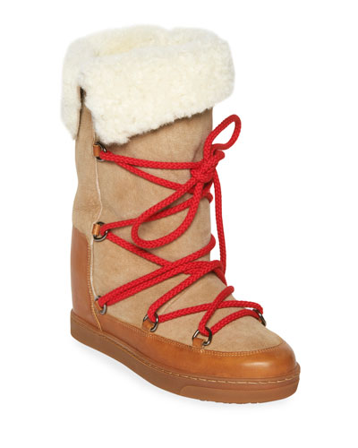 Nowly Lace-Up Leather & Shearling Boots