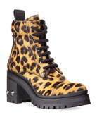 Miu Miu Leopard-Print Crystal-Heel Hiker Booties