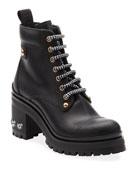 Miu Miu Leather Booties with Crystal Heel
