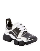 Givenchy Jaw Low-Top Leather Sneakers, Black/White