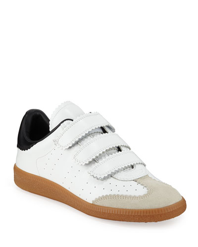 Beth Perforated Leather Grip-Strap Sneakers