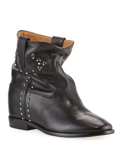 Cluster Studded Leather Booties