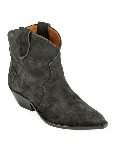 Dewina Suede Western Ankle Booties