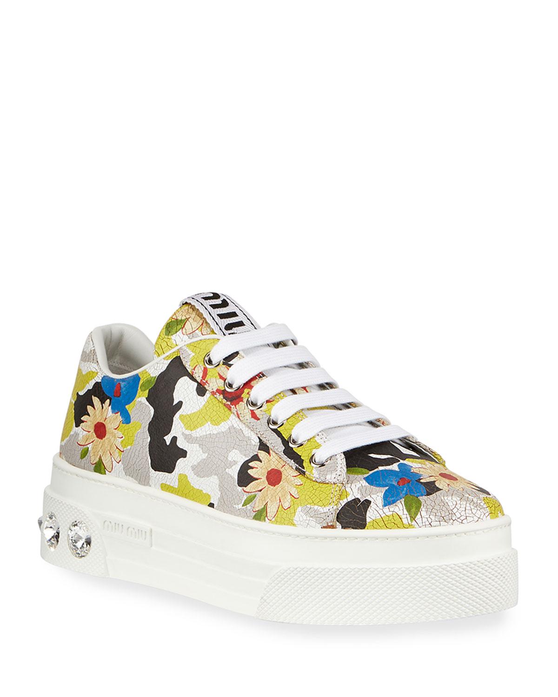 Floral Jeweled-Heel Sneakers