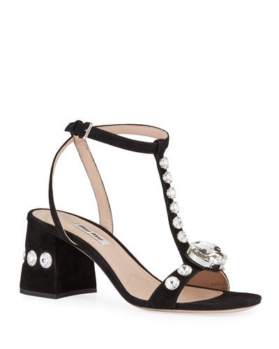 T-Strap Crystal Sandals
