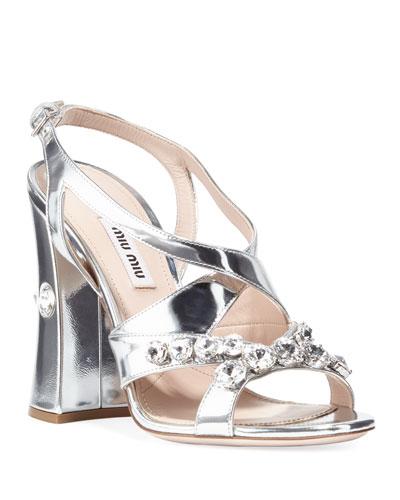 2d7b5d86614 Metallic Block Heel Sandals | Neiman Marcus
